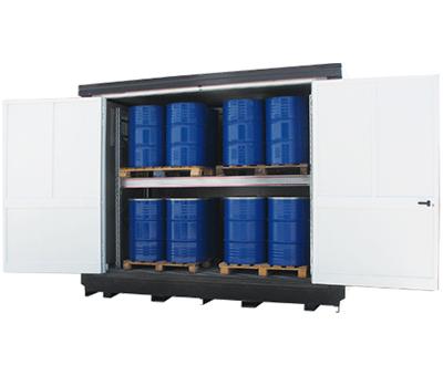 Container di sicurezza per lo stoccaggio di fusti in verticale