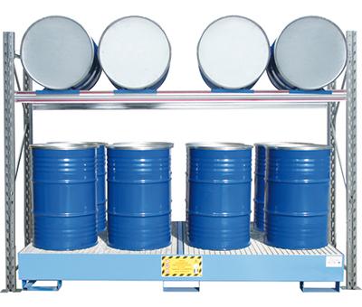 Scaffalature per stoccaggio fusti o cisternette con vasca di raccolta
