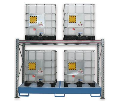 Scaffalature per lo stoccaggio di cisternette con vasca di raccolta