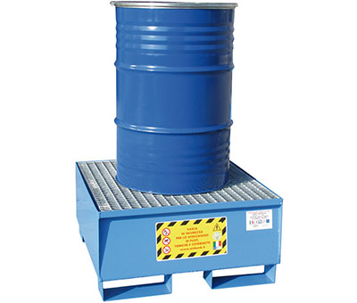 Vasche di contenimento in acciaio per lo stoccaggio di fusti e cisternette