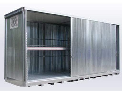 container per cisternette su scaffali